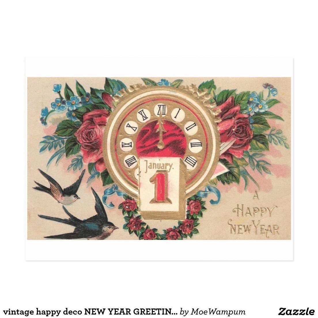vintage happy deco NEW YEAR GREETINGS clock Vintage