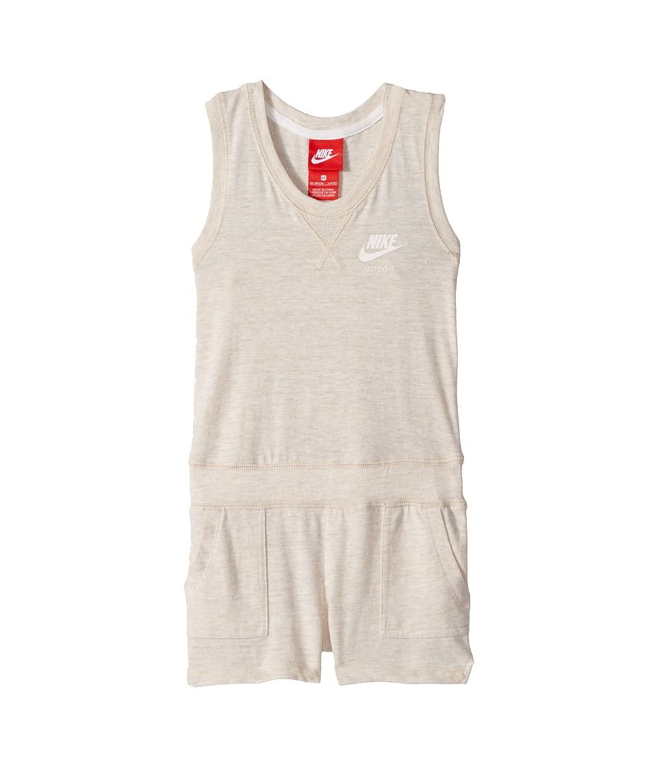 005cb7022cd6 Nike Kids Gym Vintage Romper (Toddler) Girl s Jumpsuit  amp  Rompers One  Piece Oatmeal