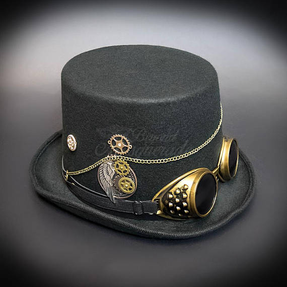 0b6edda44c4a56 Steampunk Hat Black , Steampunk Gold Goggle, Steampunk Gears, Steampunk  Accessories