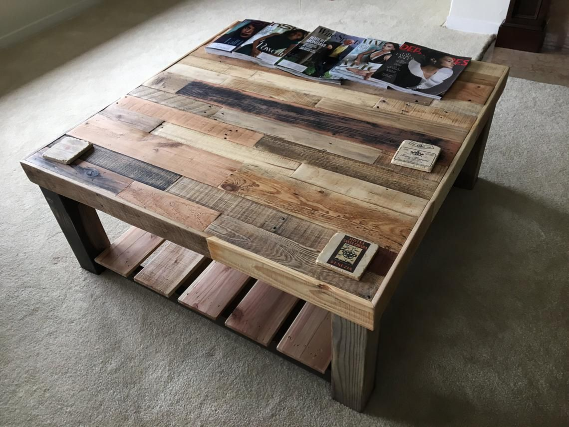 Reclaimed Wood Square Coffee Table Living Room Square Accent