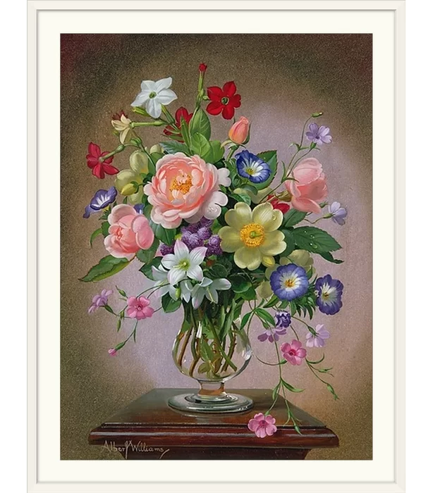 Roses Peonies And Freesias In A Glass Vase By Albert Williams Painting Print Floral Painting Flower Art Flower Painting