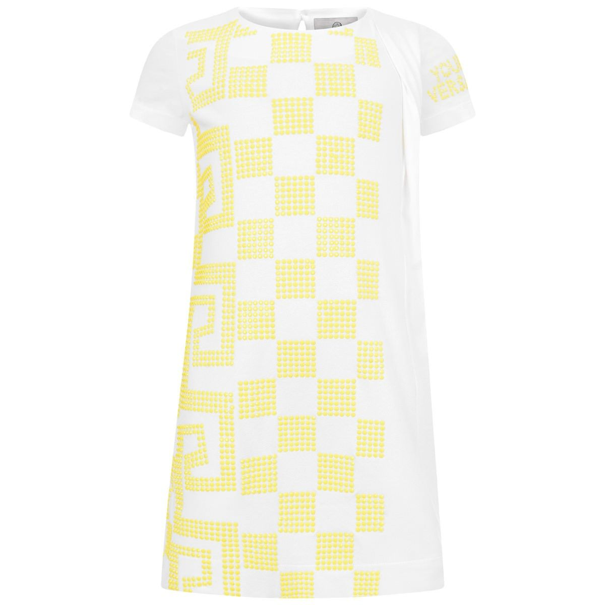 2109d7952df1 Young Versace Girls White   Yellow Studded Dress
