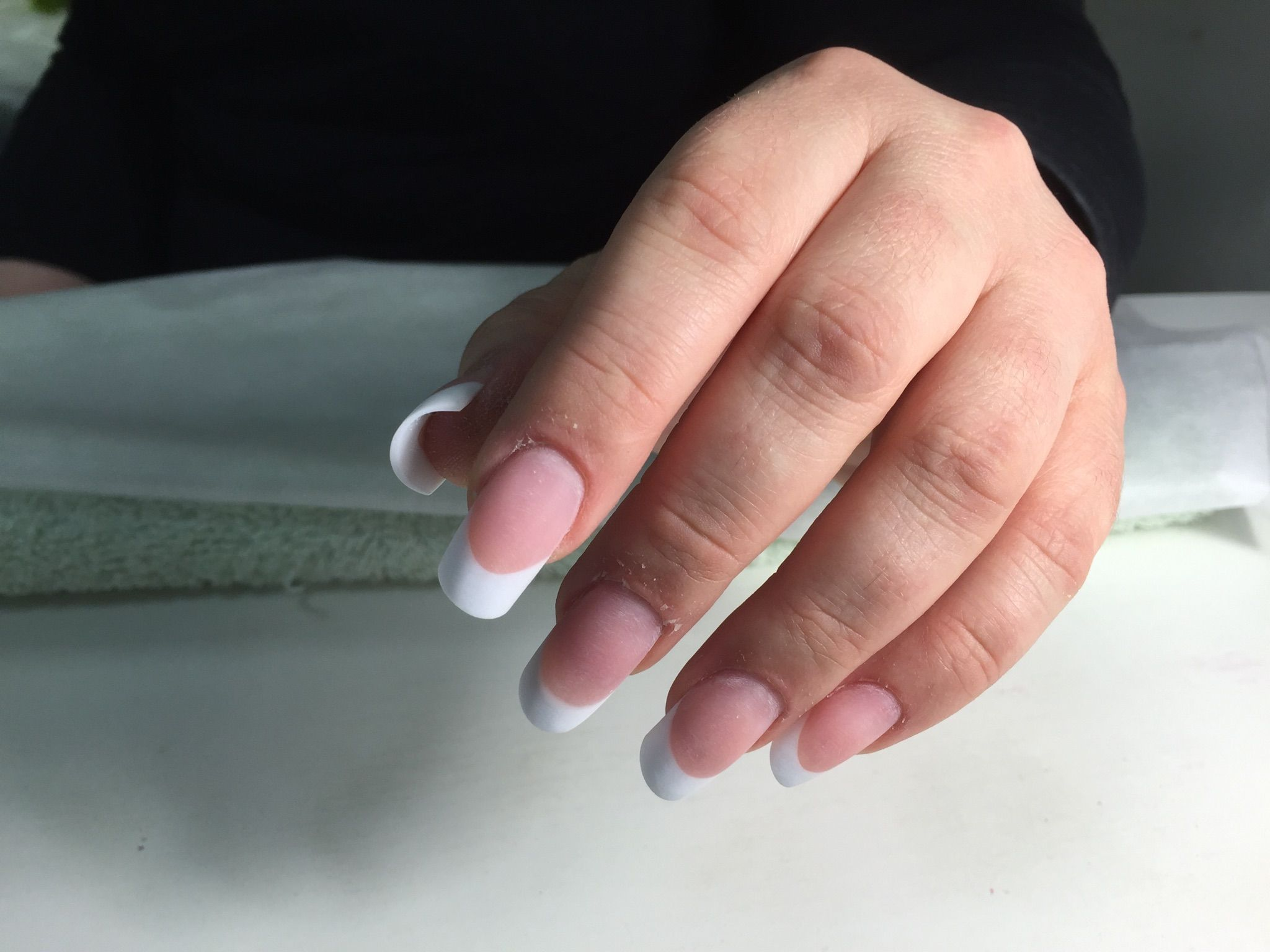 Sculpted Acrylic Nail Extensions With French Tips Squoval Shape Whitefrench Whitefrenchnails Brightonnai French Nails French Acrylic Nails Nail Extensions