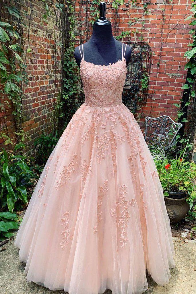 Photo of Elegante vestido largo de noche de encaje con apliques de color champán / rosa, tirantes finos y vestidos de noche de tul