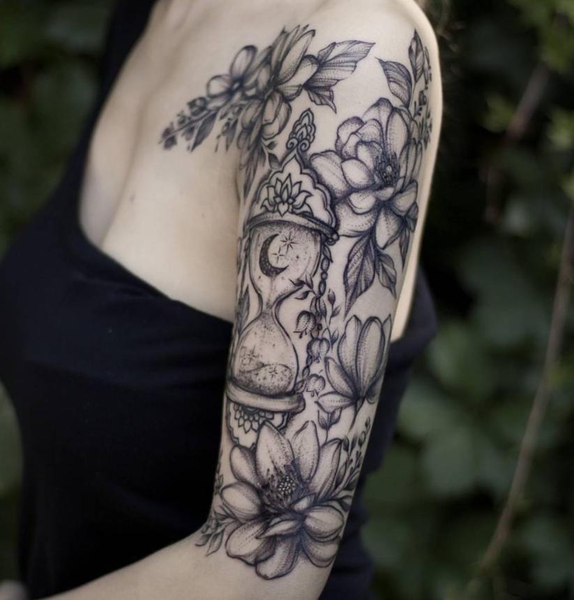 20 Unique Flower Sleeve Tattoo Design Ideas For Woman Upper Half Sleeve Tattoos Half Sleeve Tattoo Tattoos For Women Half Sleeve