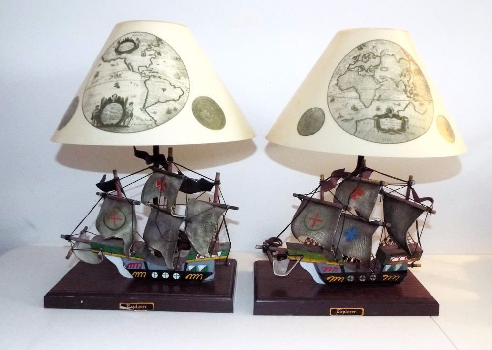 Vintage Gilbert Softlite Nautical Pirate Ship Explorer Lamp Original Shade Set 2 Novelty Lamp Lamp Vintage