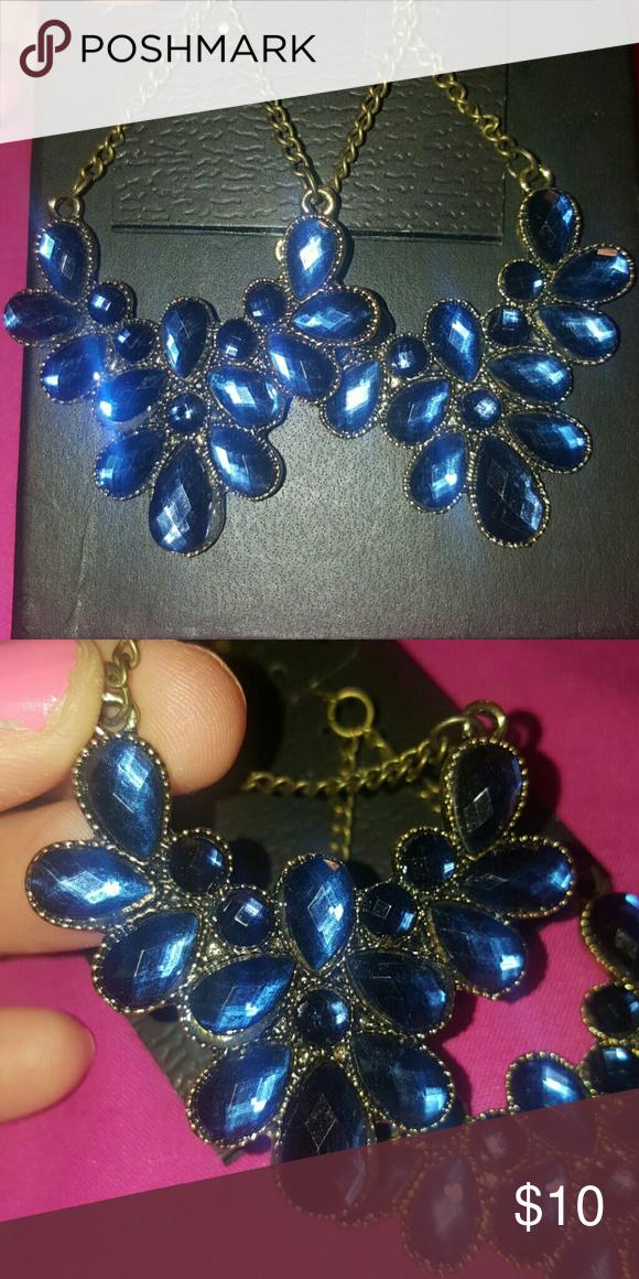 Francesca\'s Collection Earrings Blue jeweled chandelier earrings ...