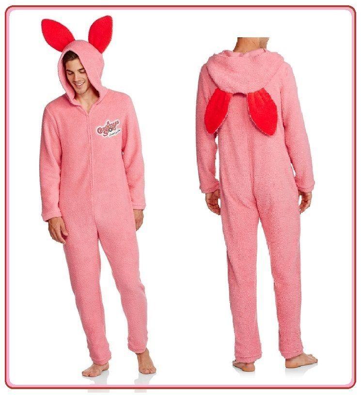 mens l pink bunny rabbit union suit pajamas hoodie costume christmas story achristmasstory