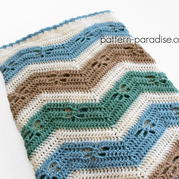 Free Crochet Patterns For Baby Rugs : Free Crochet Pattern Dragonfly Chevron Baby Blanket on ...