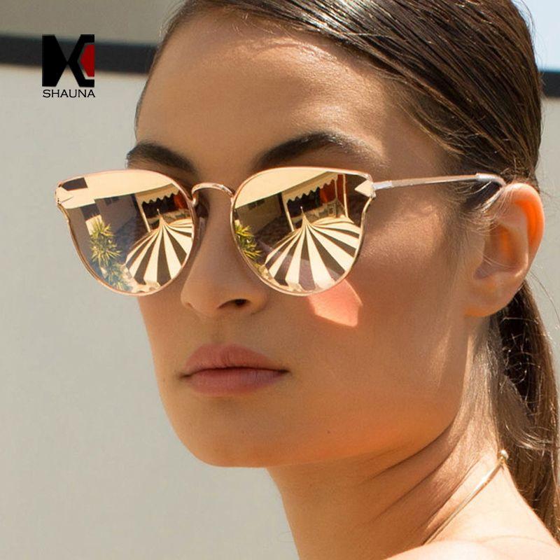 07f6c9d019 SHAUNA Mode Femmes Cat Eye Sunglasses Marque Designer Alliage Cadre  lunettes de Soleil Revêtement Miroir Plat Panneau Objectif Shades UV400