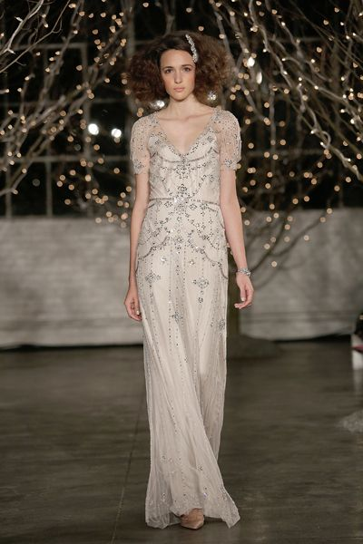 The Most Ridiculously Pretty Wedding Dresses from the Fall Bridal Shows: Jenny Packham's scalloped beading on champagne sheer overlay is so, so pretty.