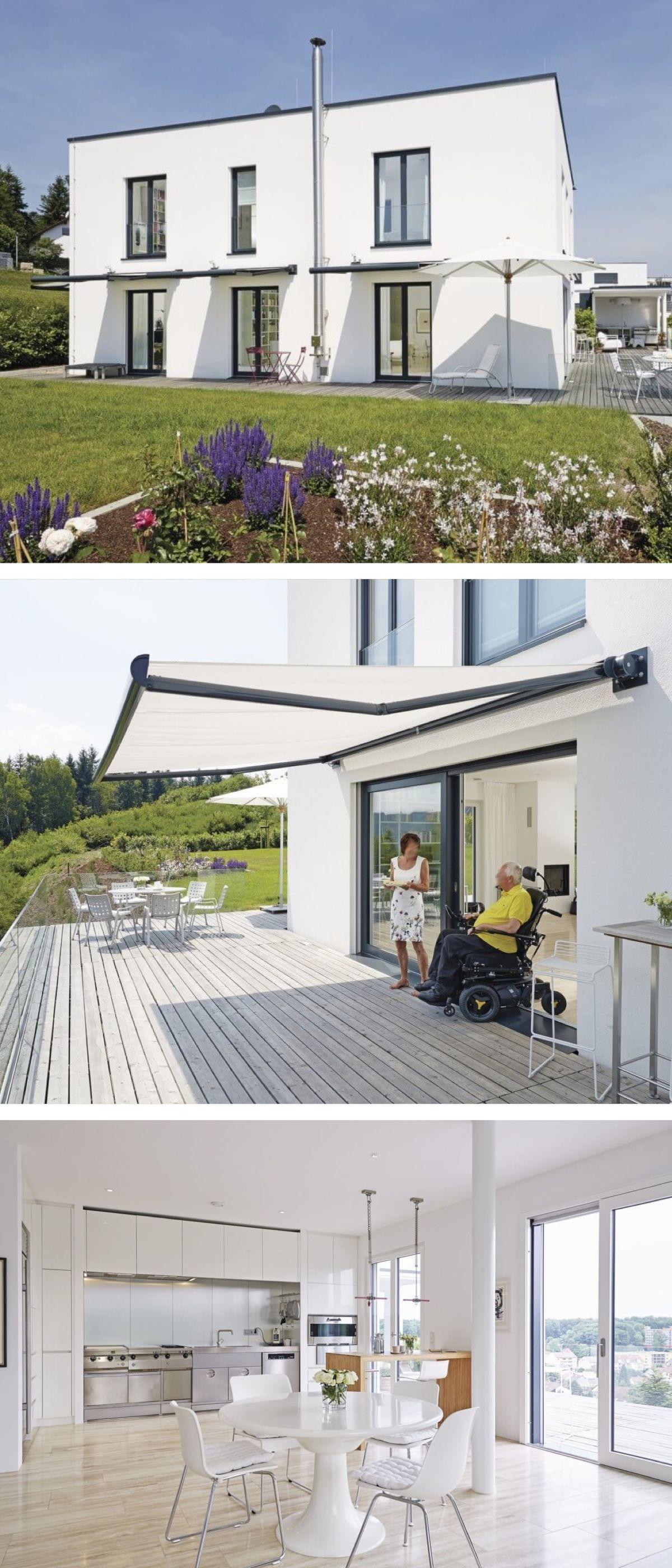 Barrierefreies Einfamilienhaus modern im Bauhausstil mit Terrasse ...