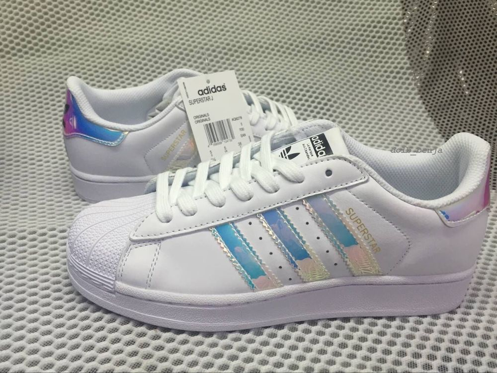 adidas prata metal branco super star via sapatos meninas (gs)