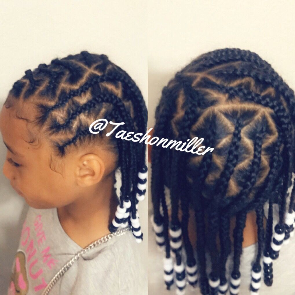 Kids Braids Kids Zigzag Cornrows With Beads African Hair Braiding Styles Baby Girl Hairstyles Cornrows With Beads