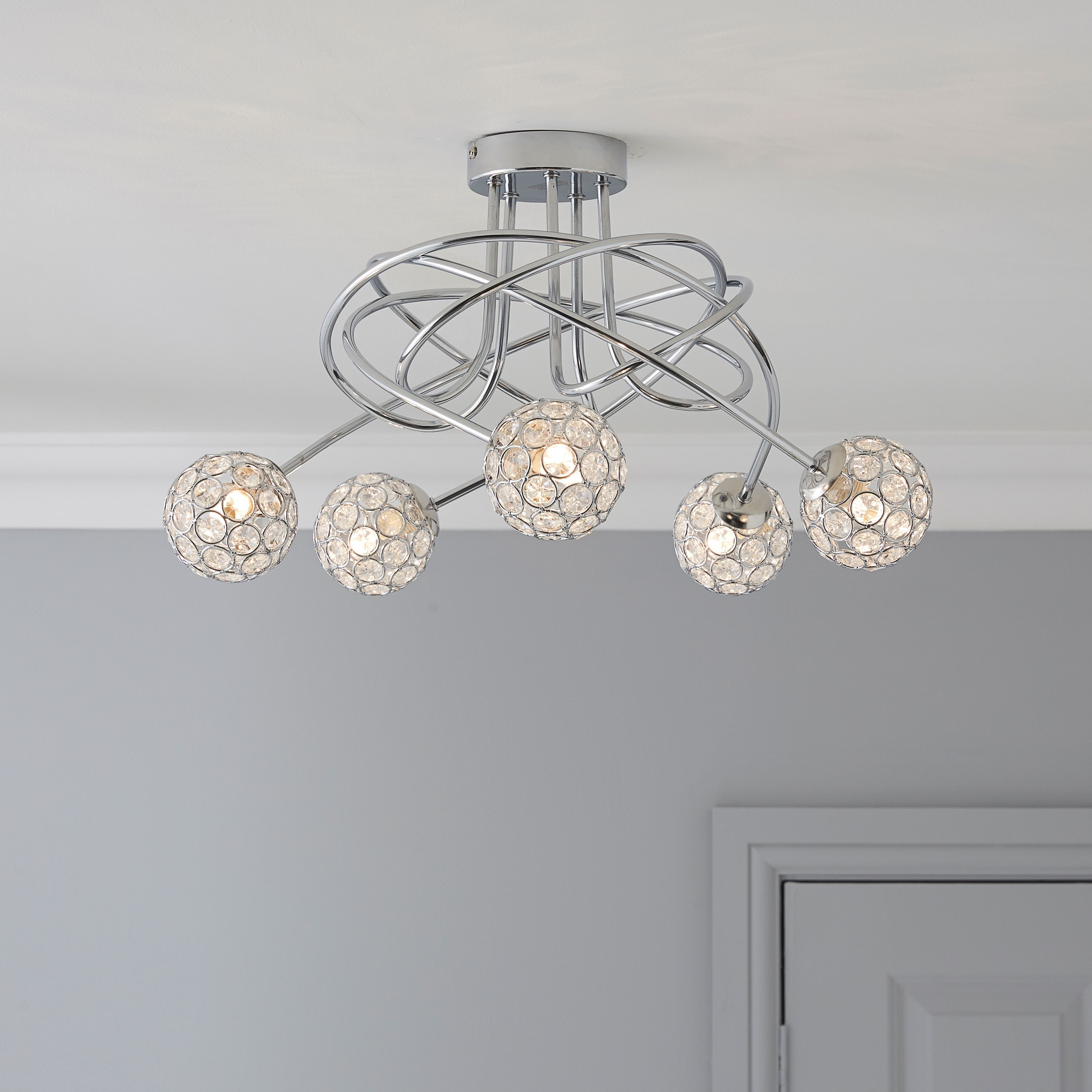 Bathroom Light Fixtures B&Q lopez crystal circle chrome effect 5 lamp ceiling light | living