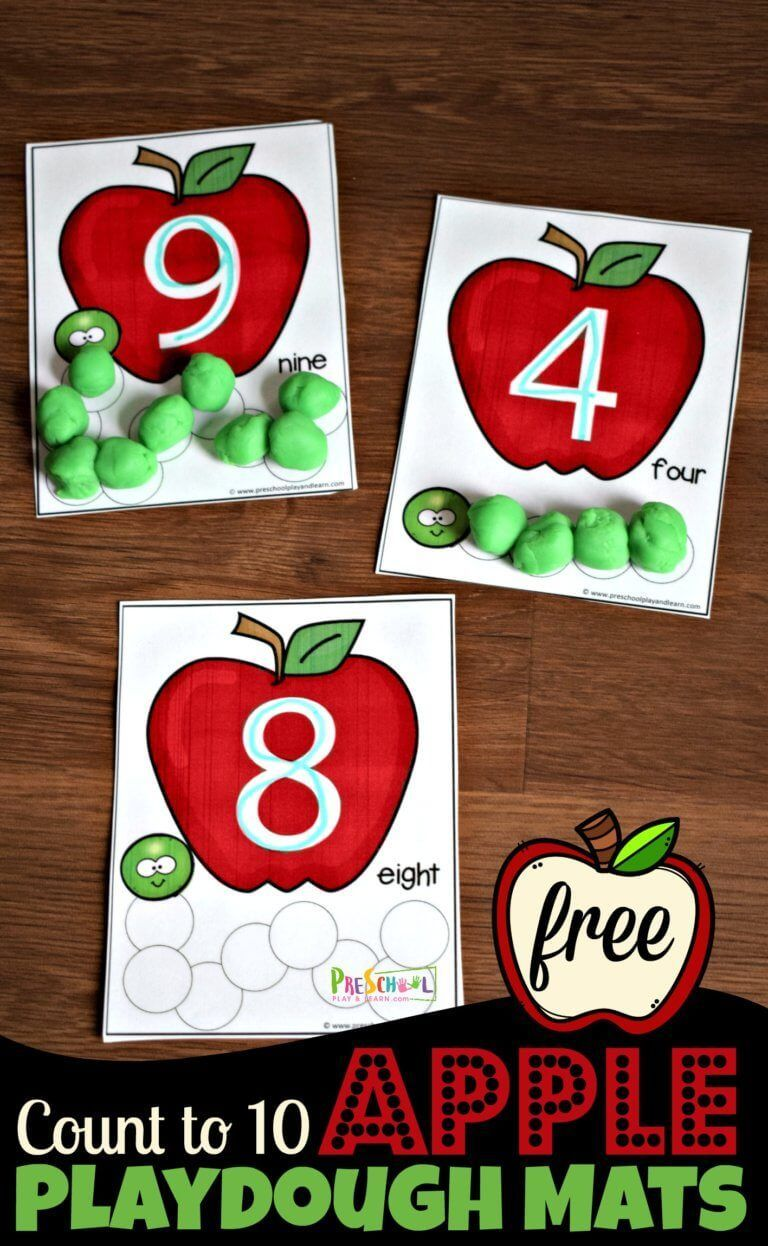 FREE Apple Count to 10 Playdough Mats - super cute toddler, preschool, kindergar...  #apple #count #educationpreschool #kindergar #playdough #preschool #super #toddler