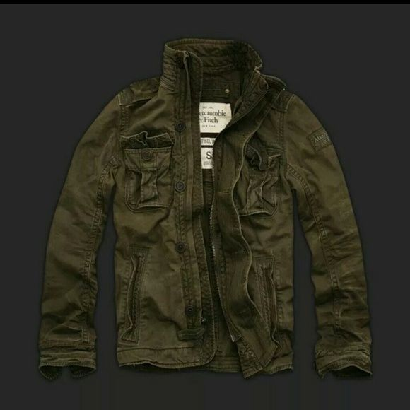 6a5f001806530 Men's A&F olive green Sentinel Jacket! Military-inspired, nicking and  grinding destruction details, button-down shoulder tabs, front pockets,  chest pockets ...