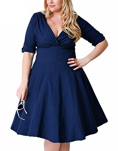 UK Womens Elegant Plus Size Deep V Neck Sleeve Party Cocktail Midi ...