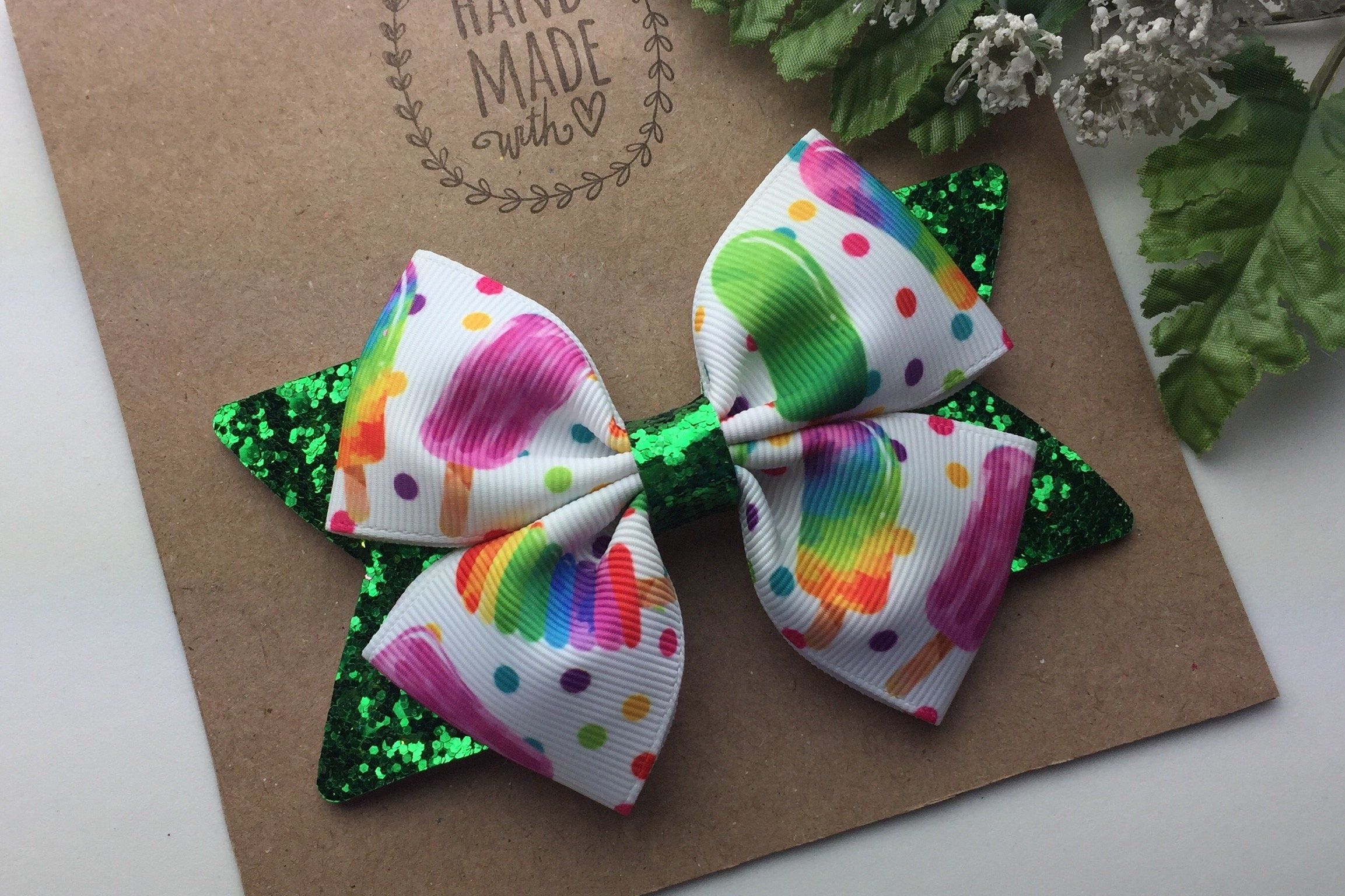 Rainbow Hearts Bow on Alligator Clip or Nylon