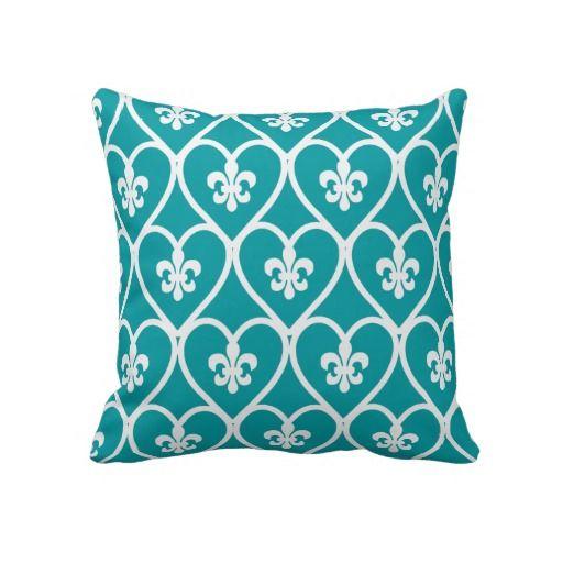 Turquoise Heart Fleur De Lis Pillows- $63.50