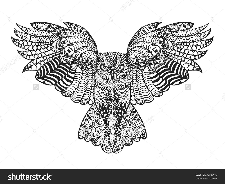 Eagle Owl Birds Black White Hand Drawn Doodle Ethnic Patterned Vector Illustration African Indian Totem Tribal Design Sketch For Adult Antistress
