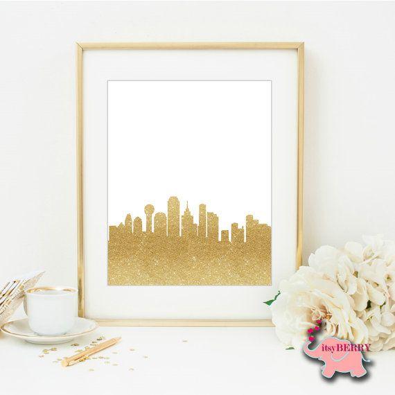 Dallas Skyline, Gold Cityscape, City Silhouette, Texas Wall Art ...