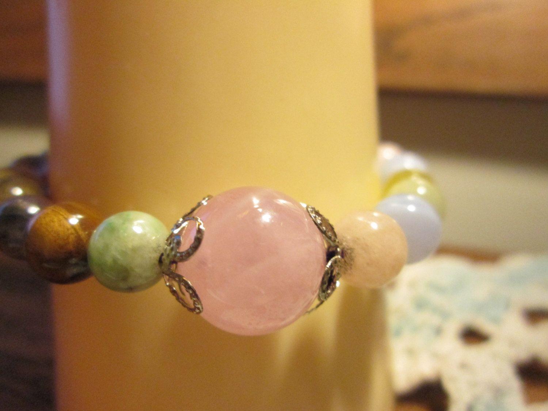 Handcrafted genuine pink multicolor quartz luckly karma bead