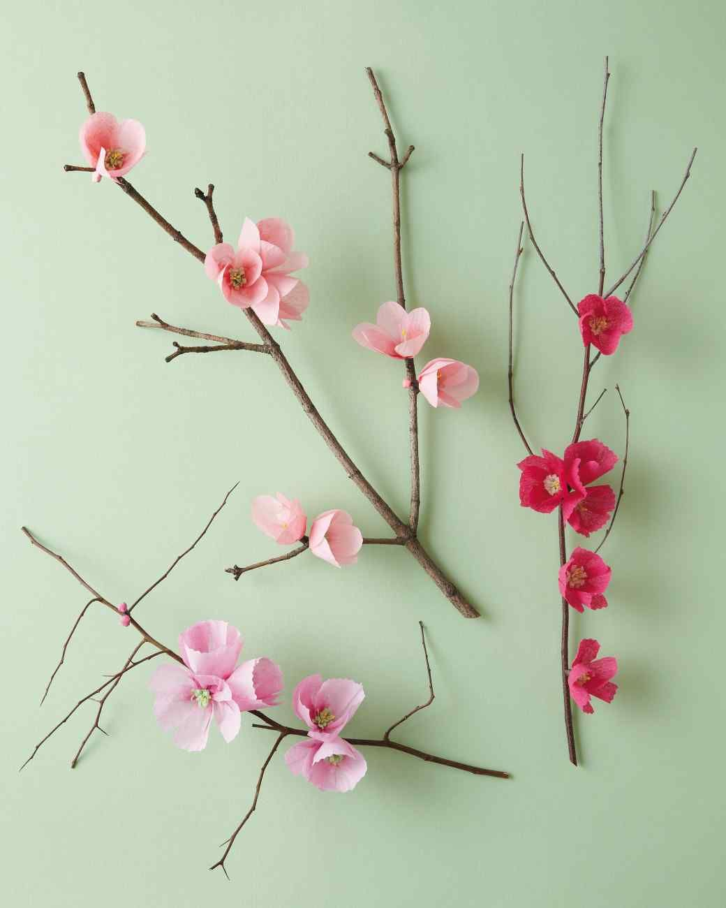 Cherry Blossom Branch Flower Crafts Paper Flower Tutorial Paper Flowers