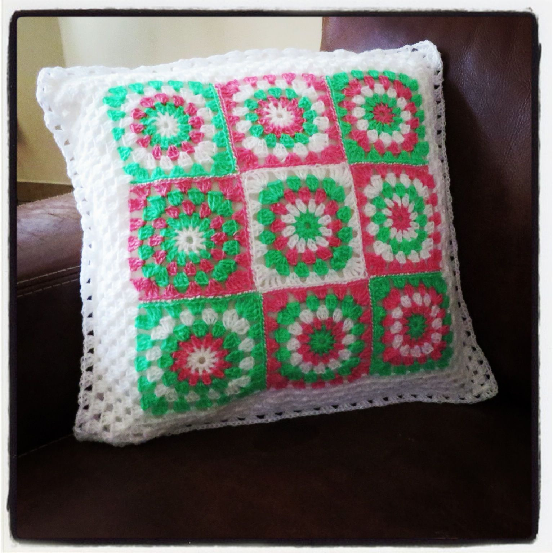 Granny Square Haken Mijn Granny Square Kussen Gehaakt Crochet