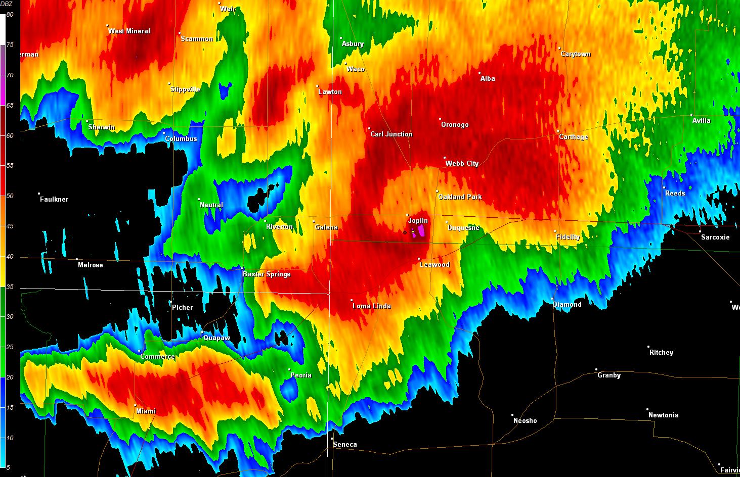EF-5 tornado near Joplin, MO on May 22, 2011