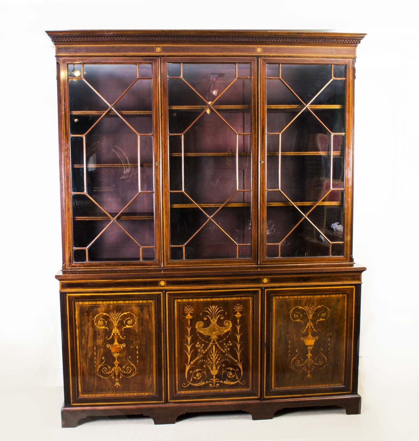 An antique Edwardian mahogany bookcase by Shoolbred