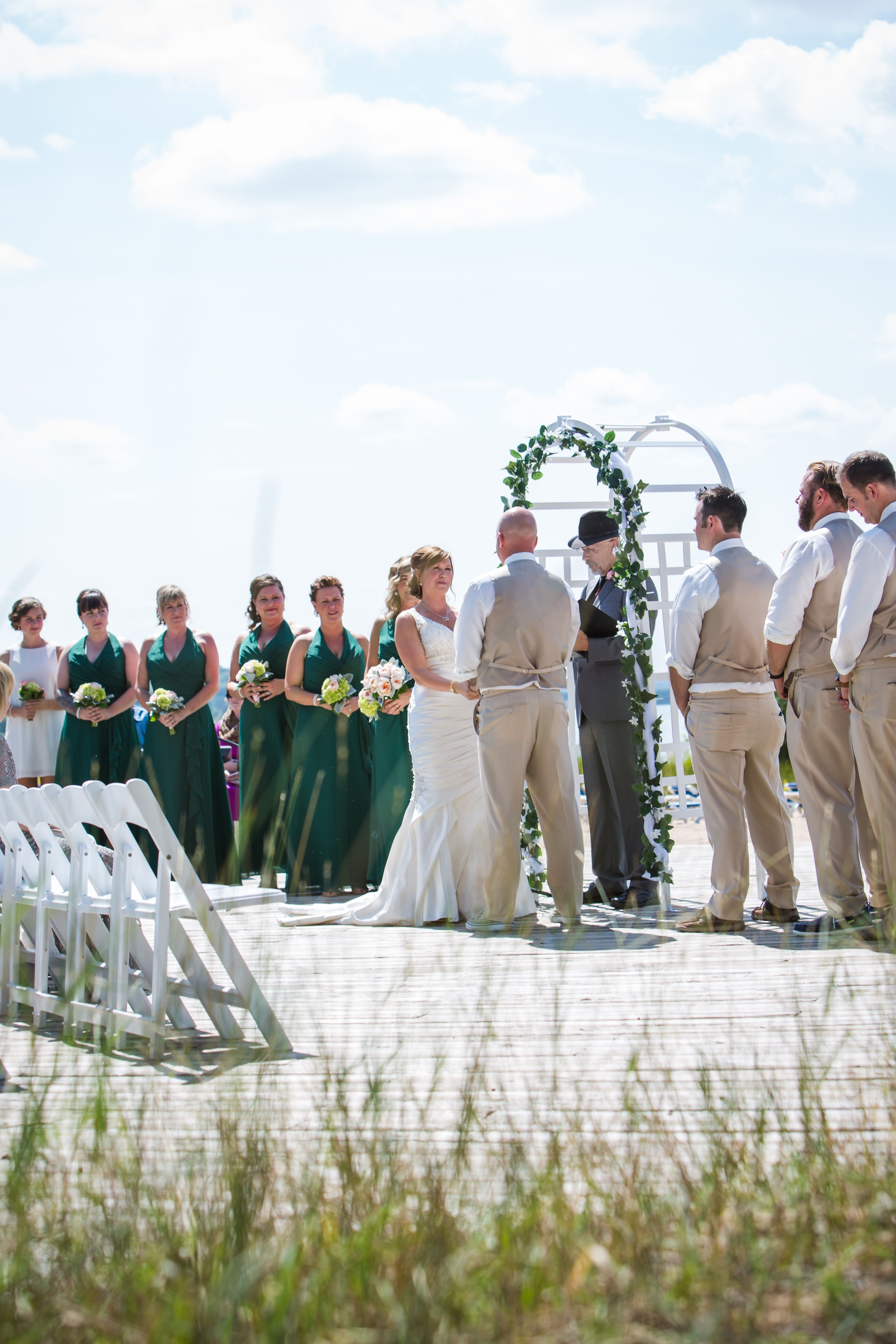 Beach Wedding On East Bay At Grand Traverse Resort And Spa I Believe That S Rev Kelly Of Nmwo Officiating