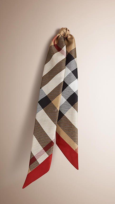Cámel Pañuelo estrecho en seda con motivo de checks - Imagen 1