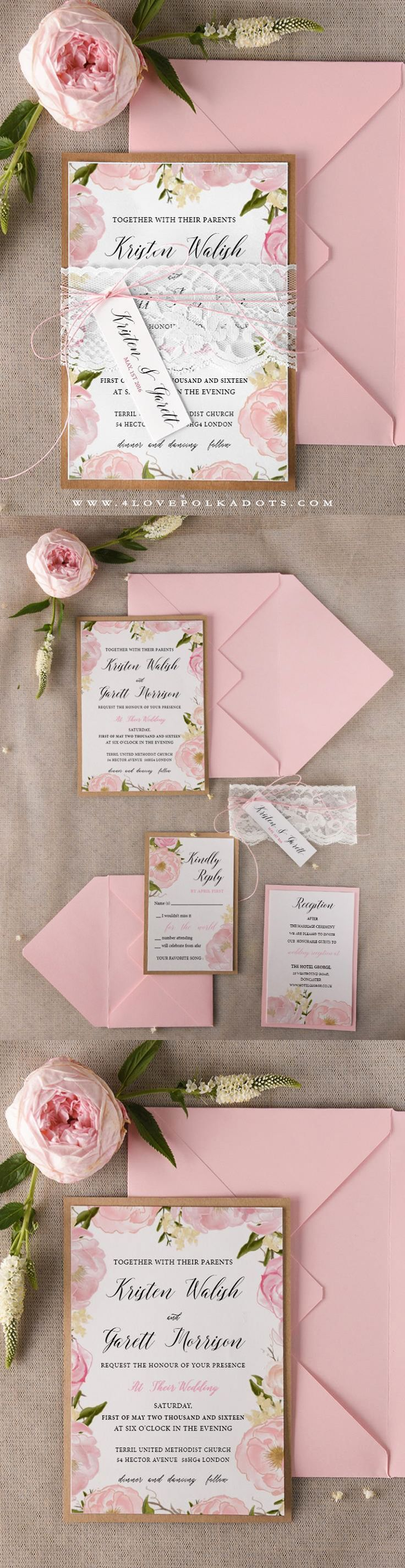 Floral Wedding Invitation With Real Lace Handmade Summerwedding Weddingideas Floral Wedding Invitations Wedding Invitation Sets Handmade Wedding Invitations