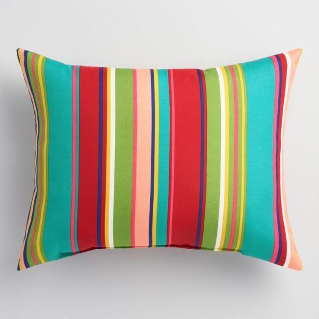 Striped Coastal Blossom Outdoor Lumbar Pillow Outdoor Chair