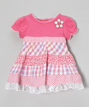 Youngland Pink Gingham Patchwork Ruffle Dress - Infant, Toddler & Girls by Youngland #zulily #zulilyfinds