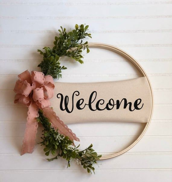 Photo of Farmhouse Welcome Wreath / Personalized Door Sign / Farmhouse Wreath / Embroidery Hoop Wreath Door d