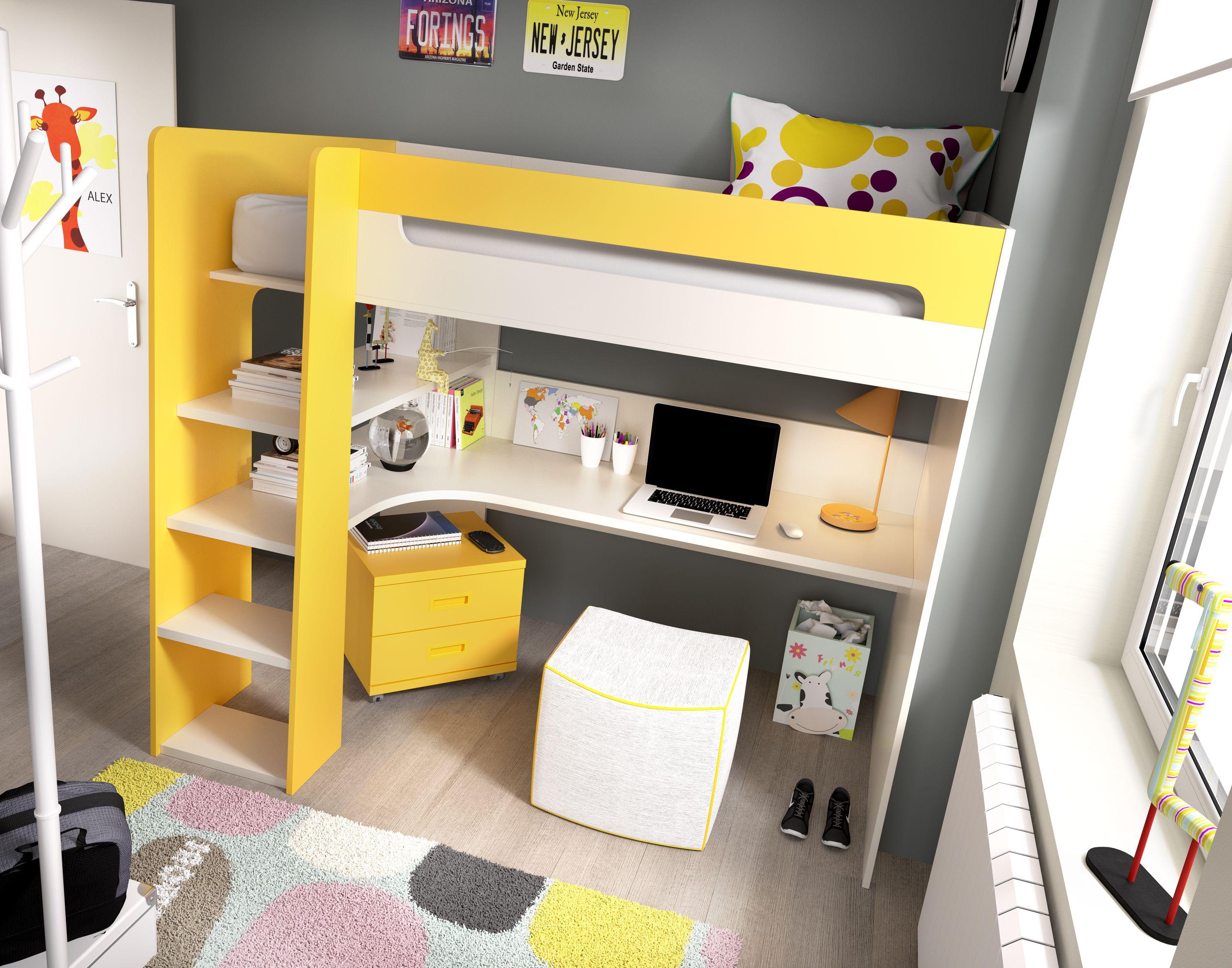Cama litera con mesa escritorio camas para dormitorios for Camas altas juveniles