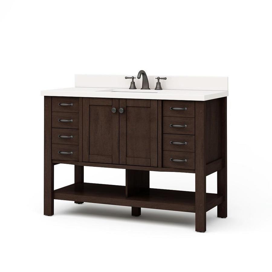 Allen Roth Kingscote Espresso Undermount Single Sink Bathroom Vanity With Engineered S With Images Single Sink Bathroom Vanity 48 Inch Bathroom Vanity Single Sink Vanity