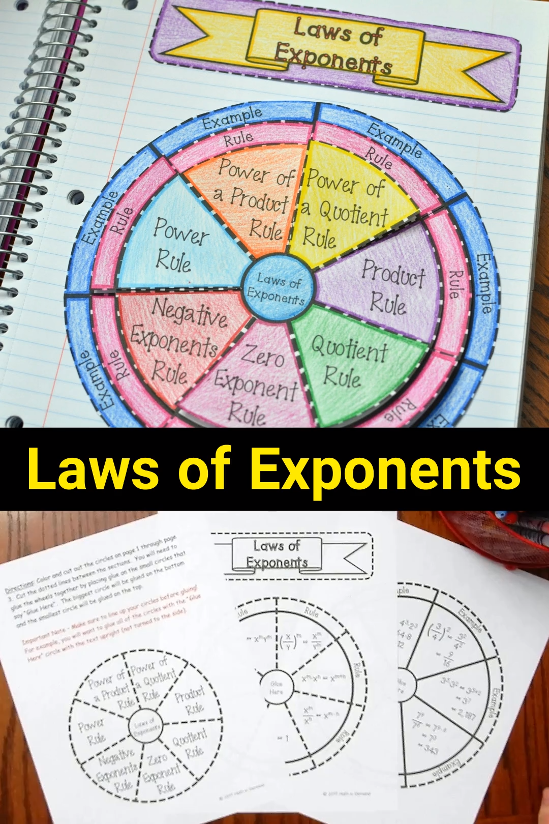 Laws of Exponents Wheel Foldable DISTANCE LEARNING Video Video   Math  art projects [ 1620 x 1080 Pixel ]