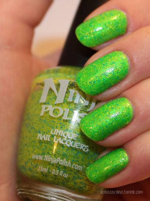 Nicola paired Ninja Polish Sunny Floam and China Glaze I'm With the Lifeguard for an in-your-face green.