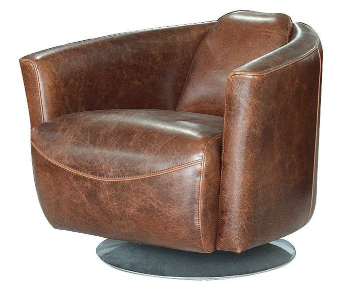 Best Avenue Spaces The Hughes Swivel Club Chair Vintage Brown 400 x 300