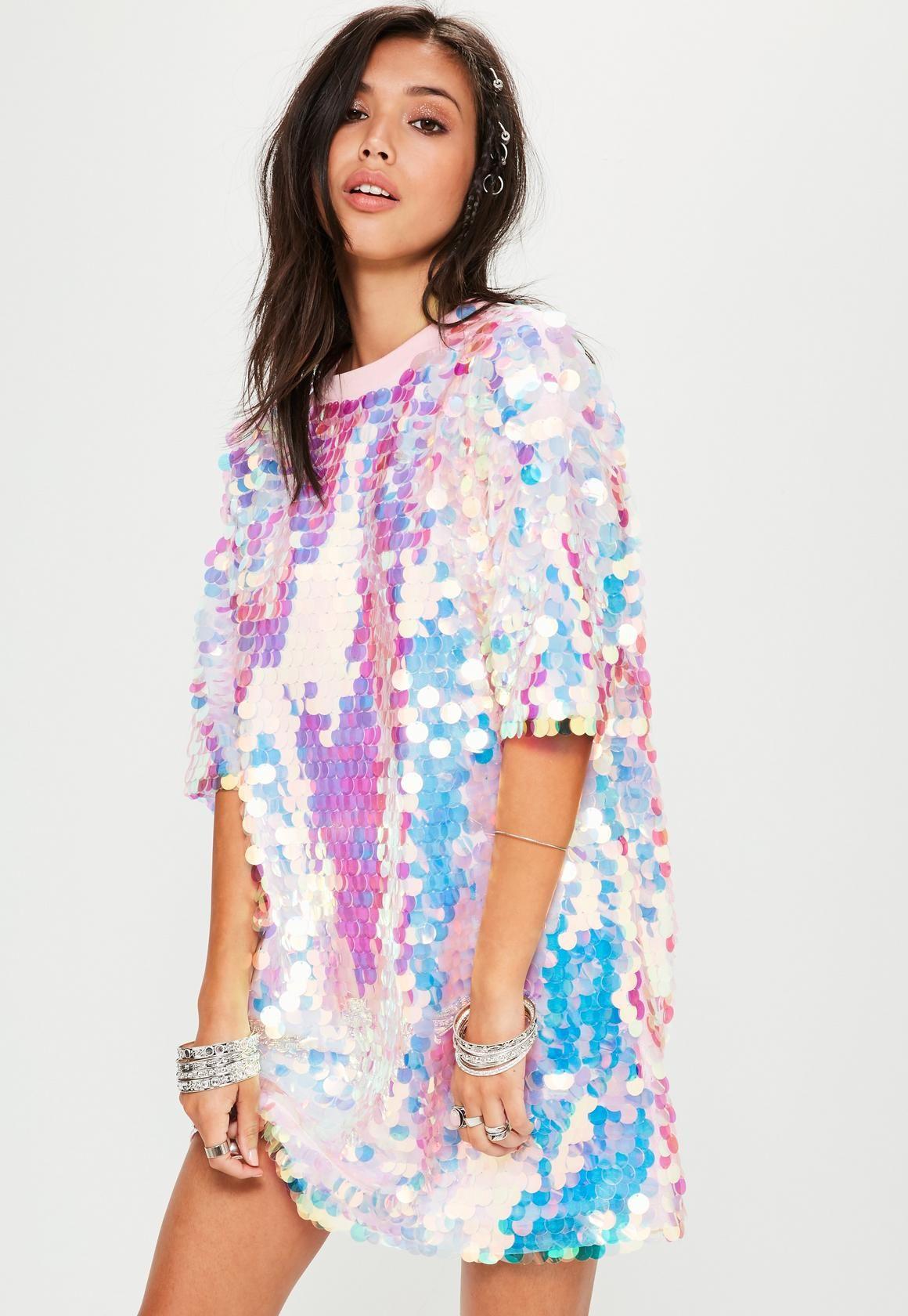 0c82b082dadd3 Missguided - Pink Sequin T Shirt Dress | ~Hanna~ | Sequin t shirt ...