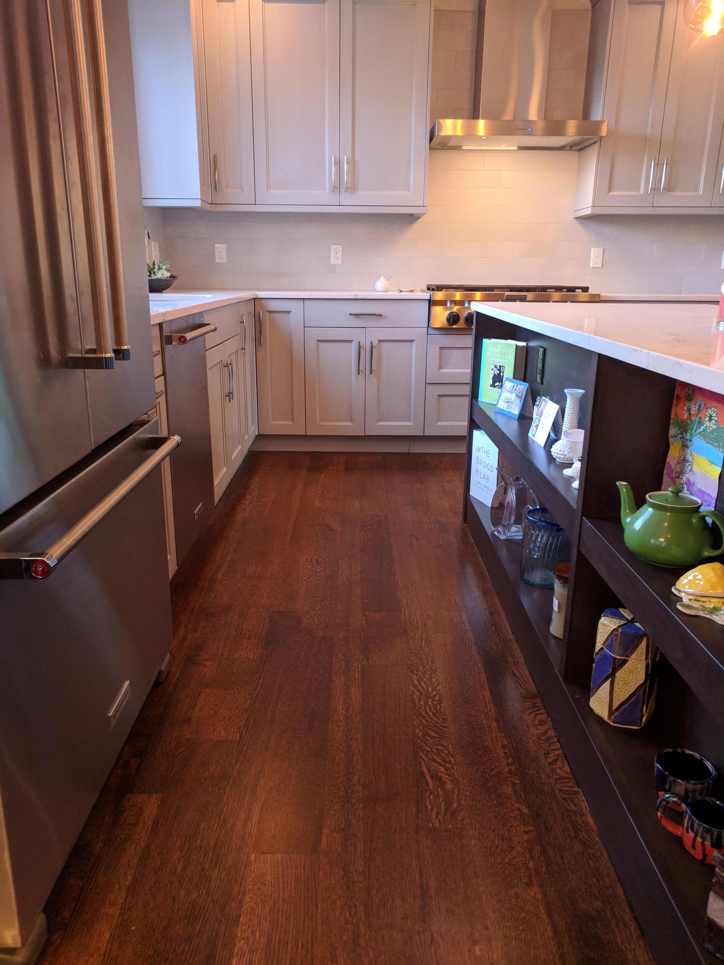 Stained White Oak Floors In Newly Remodeled Kitchen