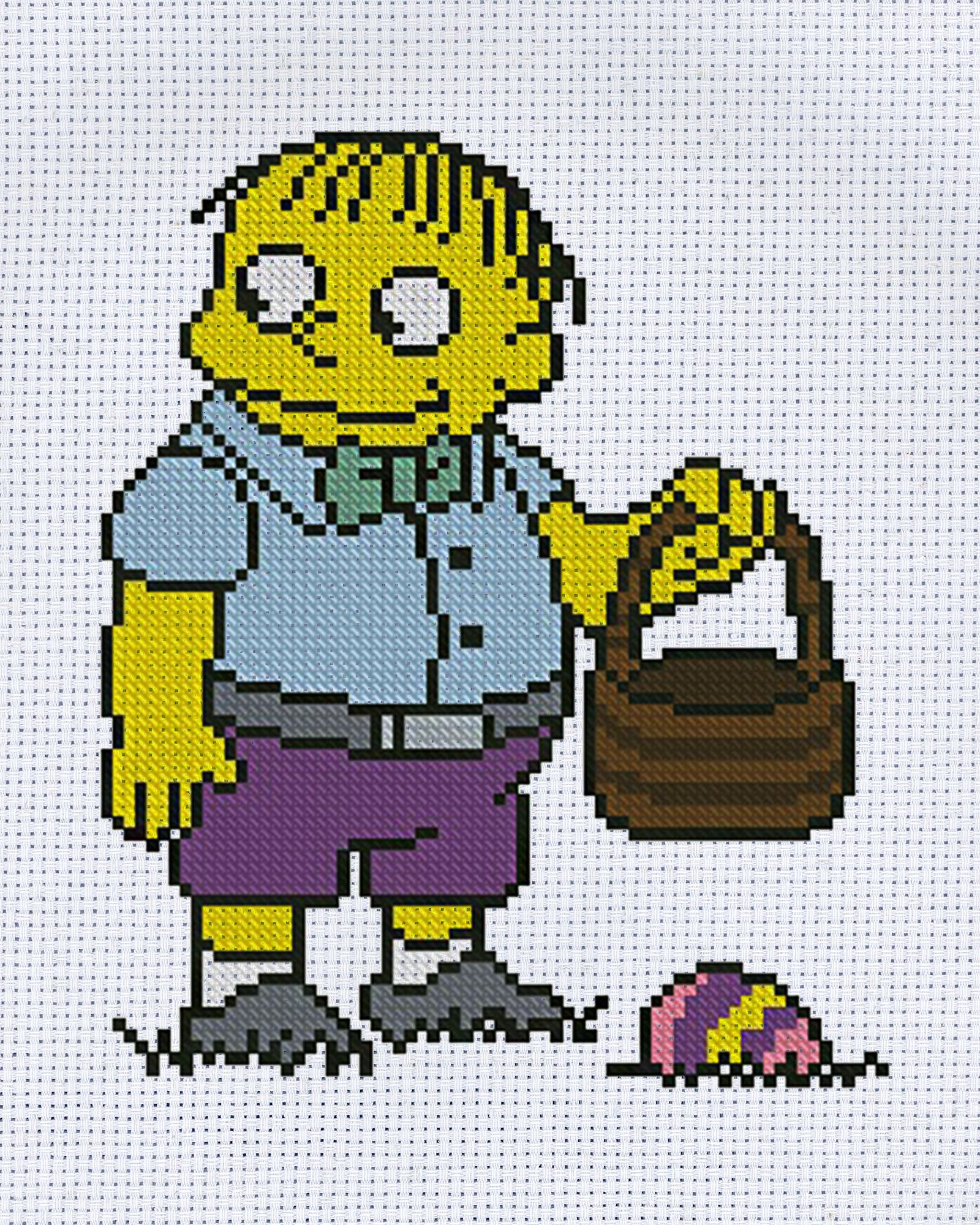 Ralph Wiggum The Simpsons Happy Easter Cross Stitch