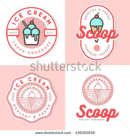 Set Of Logo Badges Banners Emblem And Elements For Ice Cream Shop Vector Illustration Cupcake Logo Design Graphic Design Fun Cupcake Logo