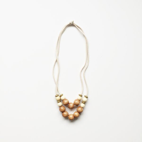 The Jones Market - tuggable and non toxic necklace - Eclectic Double Infinity in Almond, Vanilla, Gold + Cream