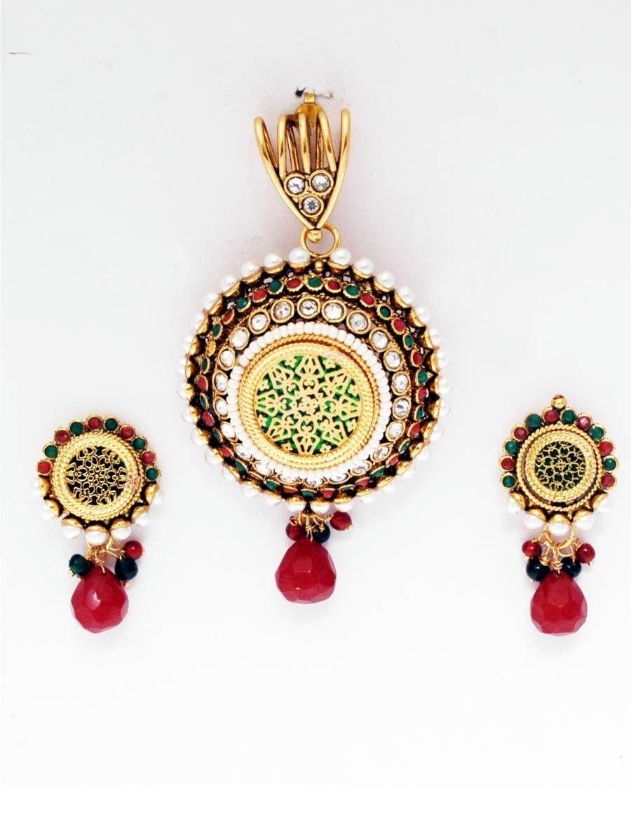 Get this multi color kundan thewa pendant set on very reasonable