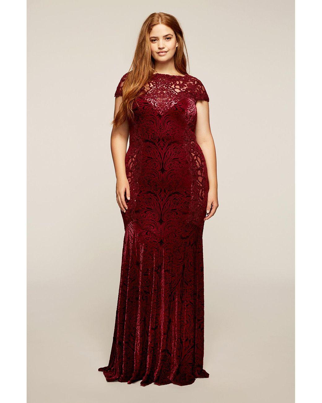 Womenus red muriel gown plus size tadashi temple pinterest
