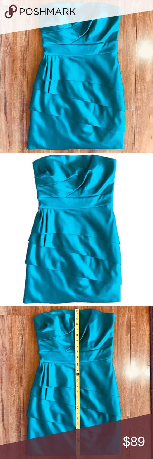 BCBG Strapless Teal Party Dress Size 6 | Teal party, Body shapes and ...